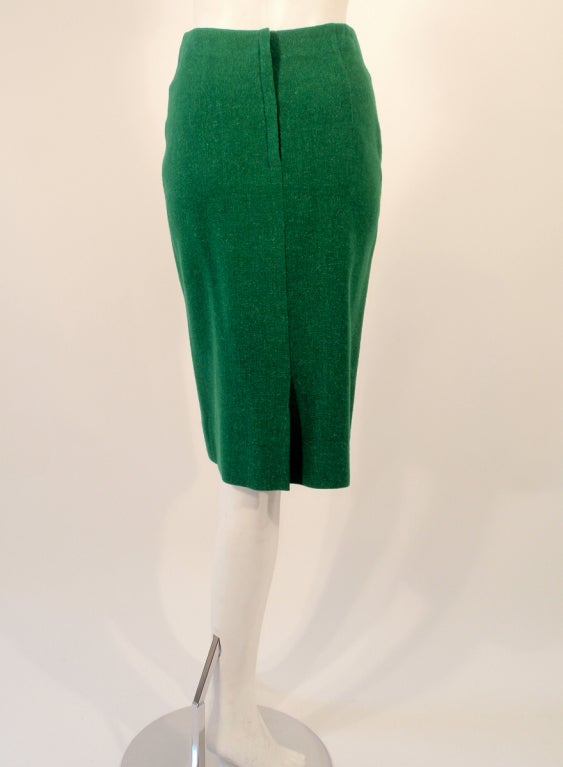 Attributed to Rudi Gernreich Green Wool pencil Skirt with Kick Pleat 6