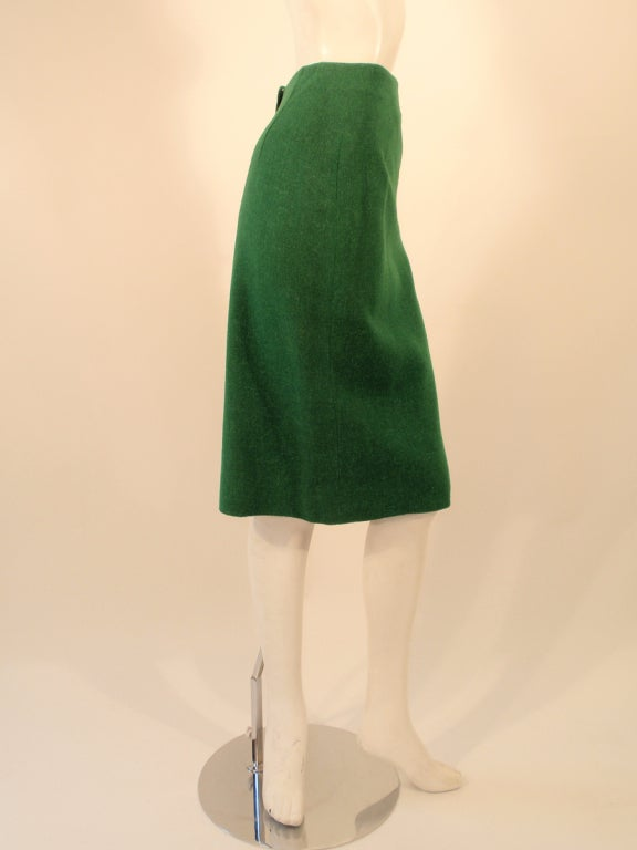 Attributed to Rudi Gernreich Green Wool pencil Skirt with Kick Pleat 7