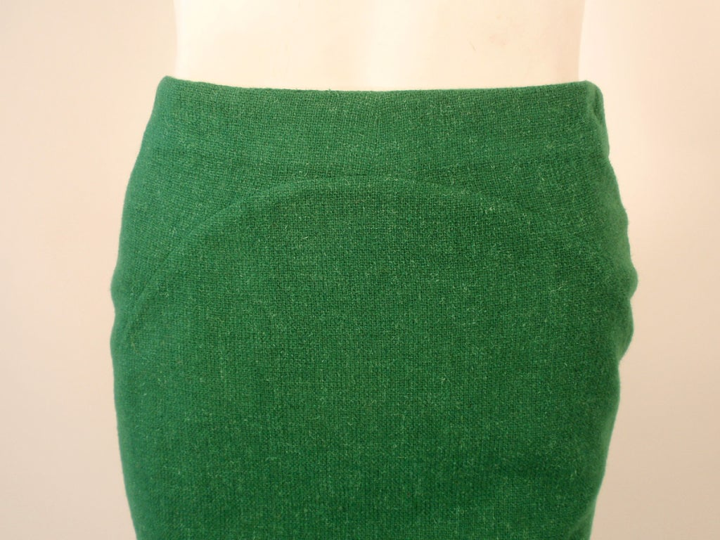 Attributed to Rudi Gernreich Green Wool pencil Skirt with Kick Pleat 8