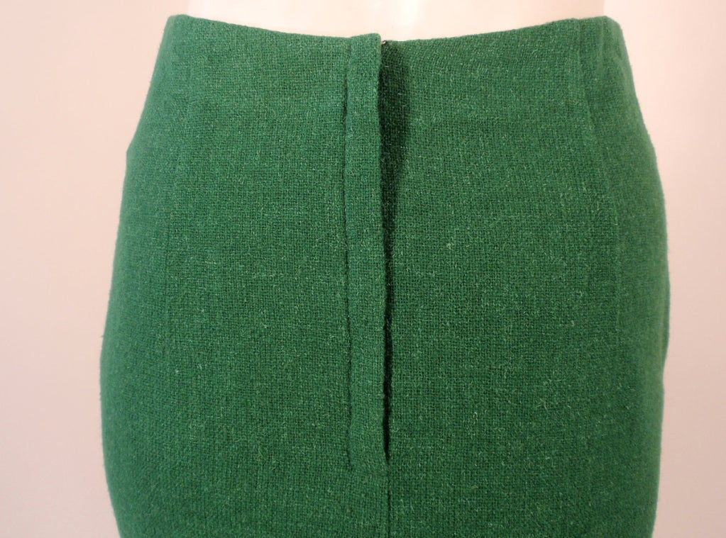 Attributed to Rudi Gernreich Green Wool pencil Skirt with Kick Pleat 9