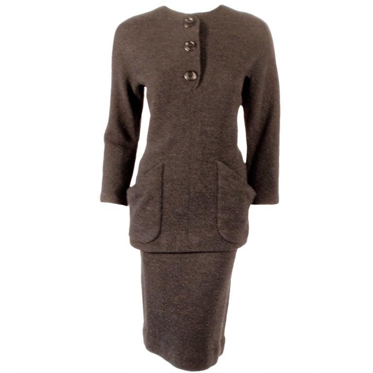 Rudi Gernreich attrib. 2 Piece Gray Wool Knit Skirt Suit, 1950s