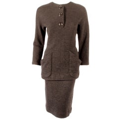 Rudi Gernreich attrib. 2 Piece Gray Wool Knit Skirt Suit, 1950s