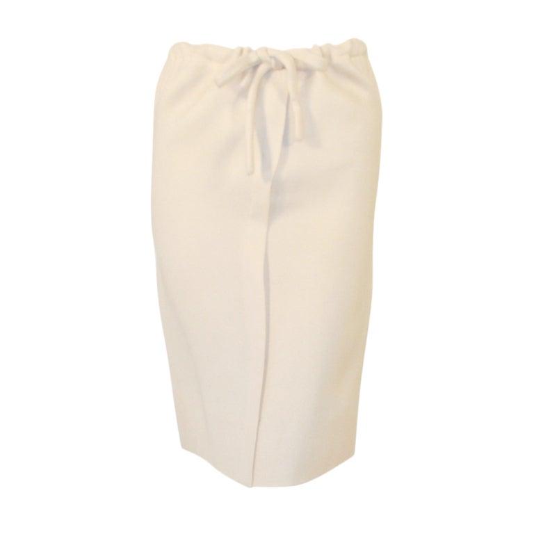 Rudi Gernreich for Walter Bass Cream Wool Straight Skirt with Drawstring Waist
