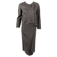 Rudi Gernreich attributed  2 Pc. Gray Skirt Suit w/ Stripe Lining