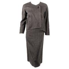 Rudi Gernreich attributed  2 Pc. Gray Skirt Suit w/ Stripe Lining