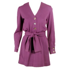 Rudi Gernreich Vintage Purple Lon Sleeve Mini Dress w/ Tie Belt