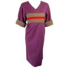 Rudi Gernreich Vintage Purple Wool Kabuki Dress w/ B/W Stripes