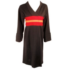 Rudi Gernreich Vintage Wool Black, Red, Orange Kabuki Dress