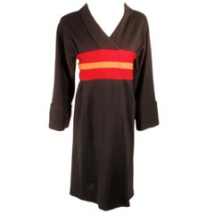 Rudi Gernreich Vintage Wool Black, Red, Orange Kabuki Dress