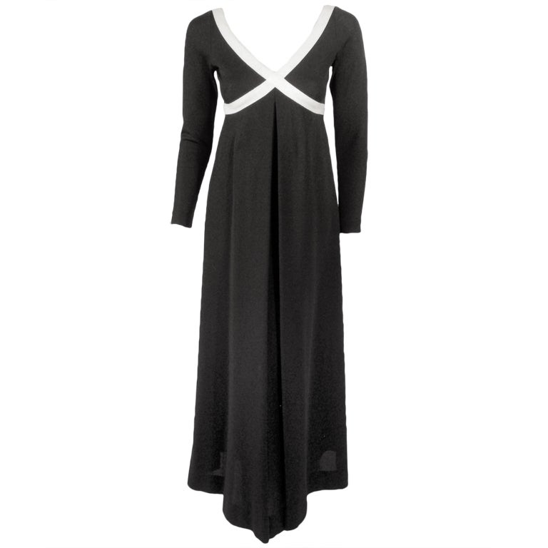 Rudi Gernreich Vintage Black & White L/S Maxi Dress