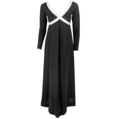 Rudi Gernreich Vintage Black & White L/S Maxi Dress