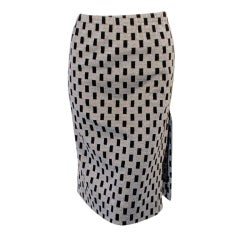 Rudi Gernreich Vintage Black, Silver Lurex Checkered Knit Slit Skirt