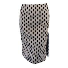 Rudi Gernreich Vintage Black, Silver Lurex Checkered Knit Slit Skirt