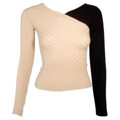 Rudi Gernreich Vintage Cream & Black Wool Sweater, NWT