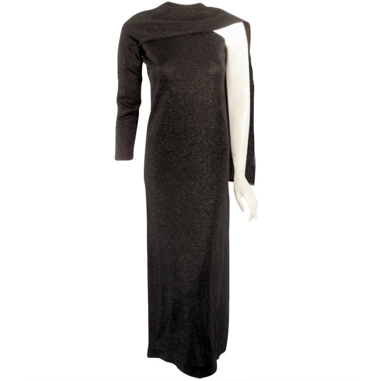 Rudi Gernreich Long Black Lurex Knit Gown w/ 1 Shoulder & Drape