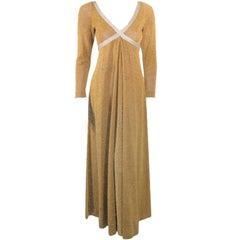 Rudi Gernreich Vintage Gold & Silver Lurex Knit Maxi Dress
