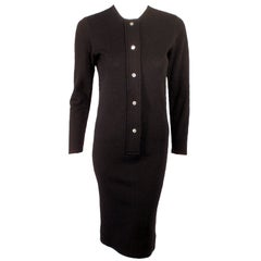 Rudi Gernreich Long Sleeve Black Knit Dress w/ Abalone Buttons