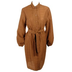 Rudi Gernreich Vintage Brown Silk Dress w/ Belt, Glass Buttons