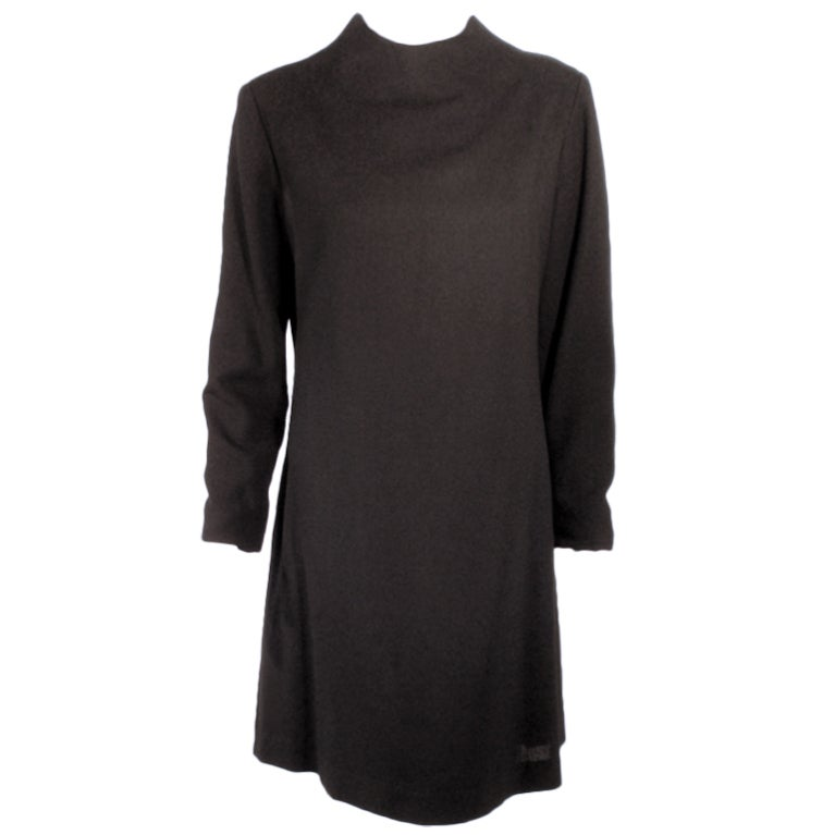 Rudi Gernreich For I.Magnin and Co. Vintage Black Long Sleeve Wool Dress