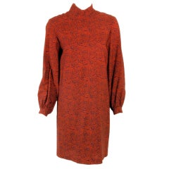 Rudi Gernreich Vintage Paisley Print L/S Sheath Dress