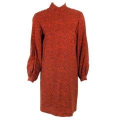 Rudi Gernreich Vintage Paisley Print L/S Sheath Dress