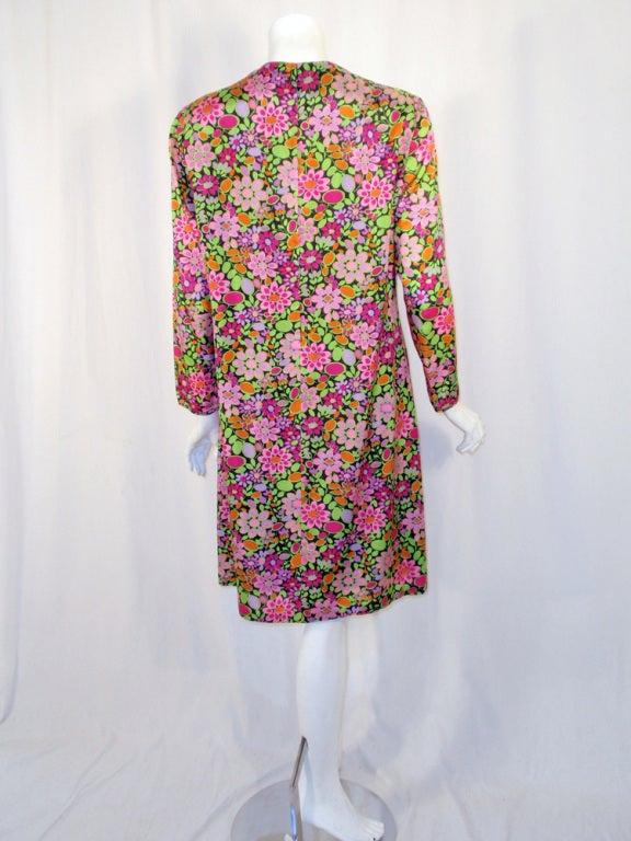 Rudi Gernreich Vintage Floral Print Silk L/S Sheath Dress In Excellent Condition For Sale In Los Angeles, CA