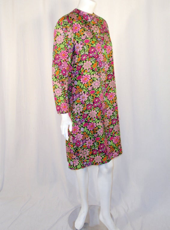 Women's Rudi Gernreich Vintage Floral Print Silk L/S Sheath Dress For Sale