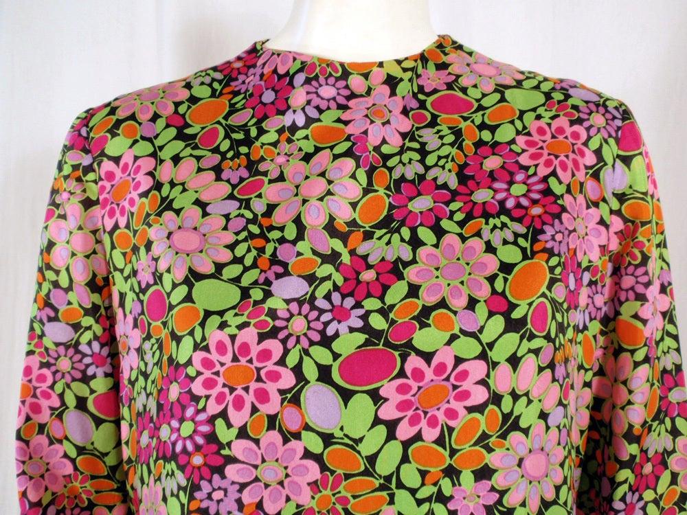 Rudi Gernreich Vintage Floral Print Silk L/S Sheath Dress For Sale 1