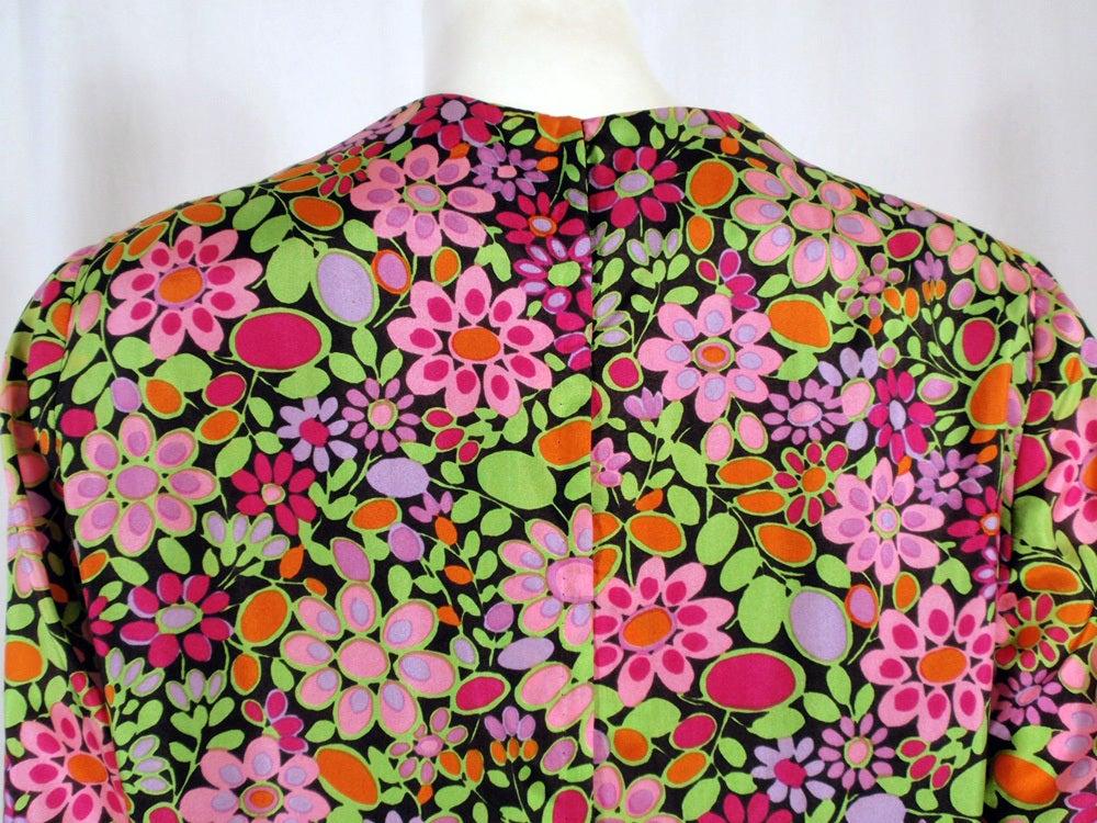 Rudi Gernreich Vintage Floral Print Silk L/S Sheath Dress For Sale 2