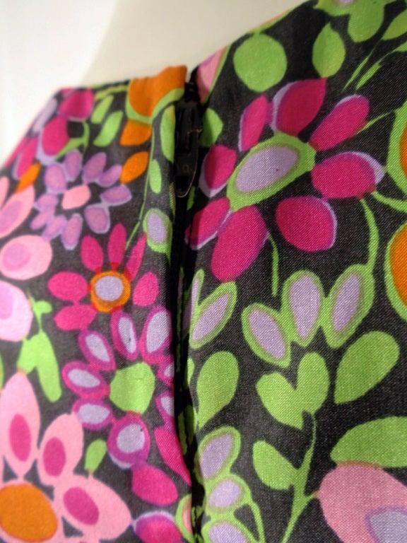 Rudi Gernreich Vintage Floral Print Silk L/S Sheath Dress For Sale 3