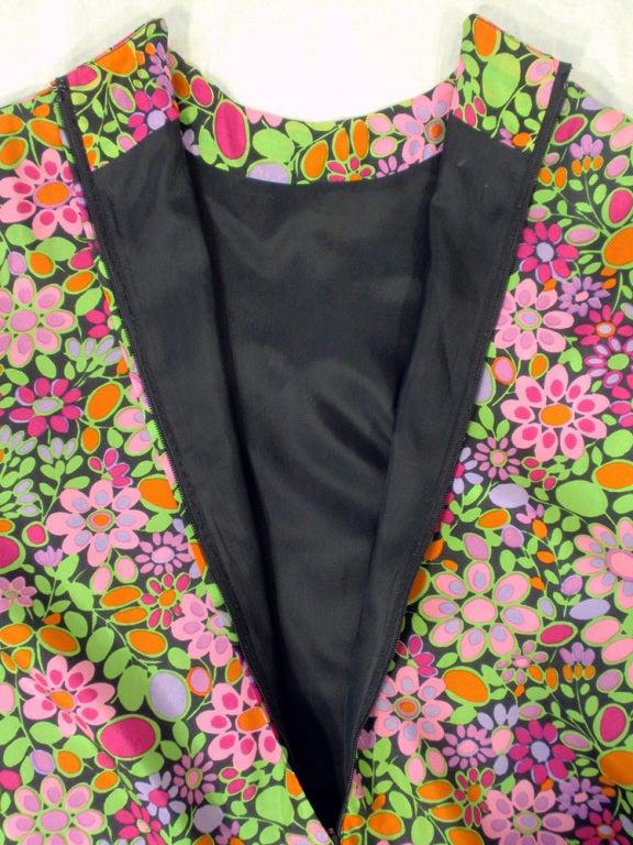 Rudi Gernreich Vintage Floral Print Silk L/S Sheath Dress For Sale 4