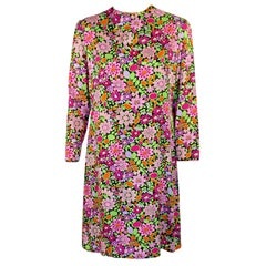 Rudi Gernreich Vintage Floral Print Silk L/S Sheath Dress
