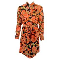 Rudi Gernreich Vintage Orange, Pink, Black Floral Print Dress