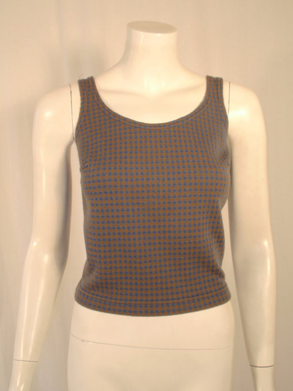 Harmon Knitwear for Rudi Gernreich Vintage Bue & Brown Check Wool Knit Tank Top 2