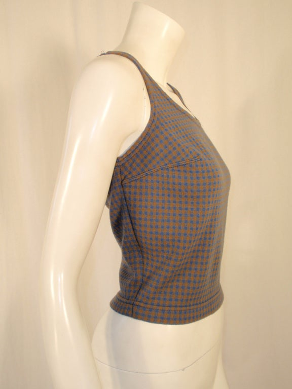 Harmon Knitwear for Rudi Gernreich Vintage Bue & Brown Check Wool Knit Tank Top 6