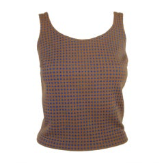 Harmon Knitwear for Rudi Gernreich Vintage Bue & Brown Check Wool Knit Tank Top