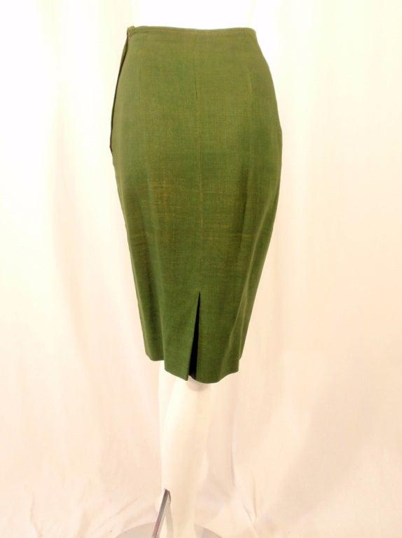 Rudi Gernreich Vintage Green 2 Pc. Skirt Suit w/ 2 Belts 10