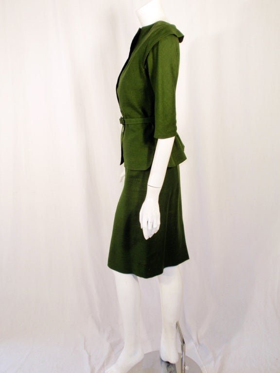 Brown Rudi Gernreich Vintage Green 2 Pc. Skirt Suit w/ 2 Belts For Sale