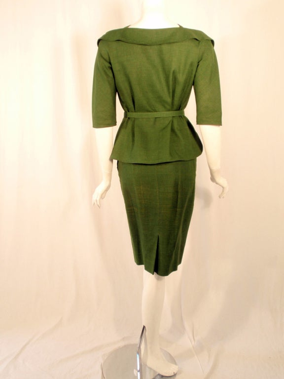 Rudi Gernreich Vintage Green 2 Pc. Skirt Suit w/ 2 Belts In Excellent Condition For Sale In Los Angeles, CA