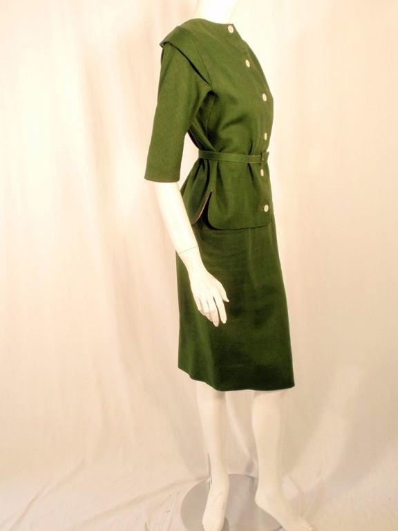 Rudi Gernreich Vintage Green 2 Pc. Skirt Suit w/ 2 Belts 5