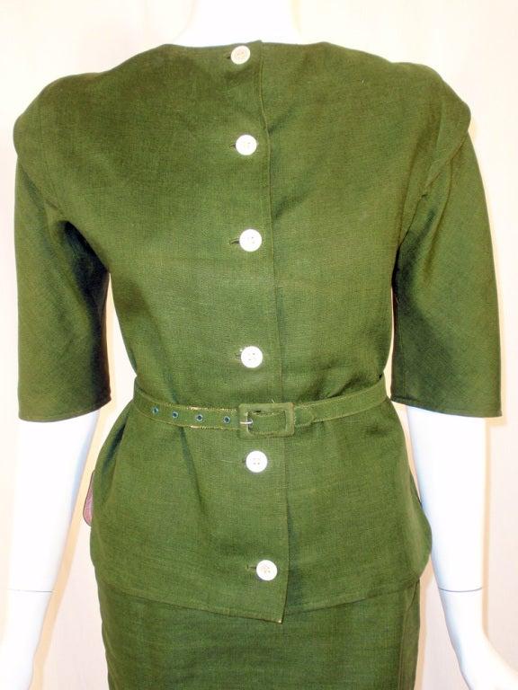 Rudi Gernreich Vintage Green 2 Pc. Skirt Suit w/ 2 Belts 6