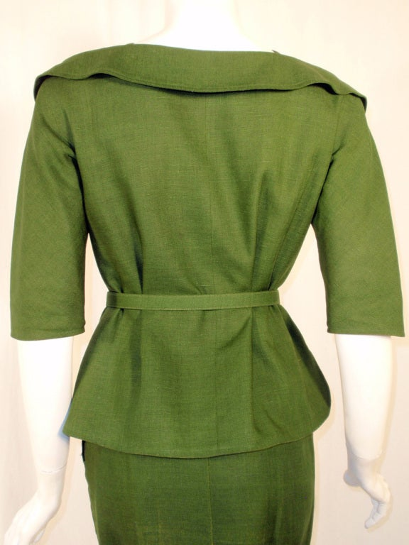 Rudi Gernreich Vintage Green 2 Pc. Skirt Suit w/ 2 Belts 7