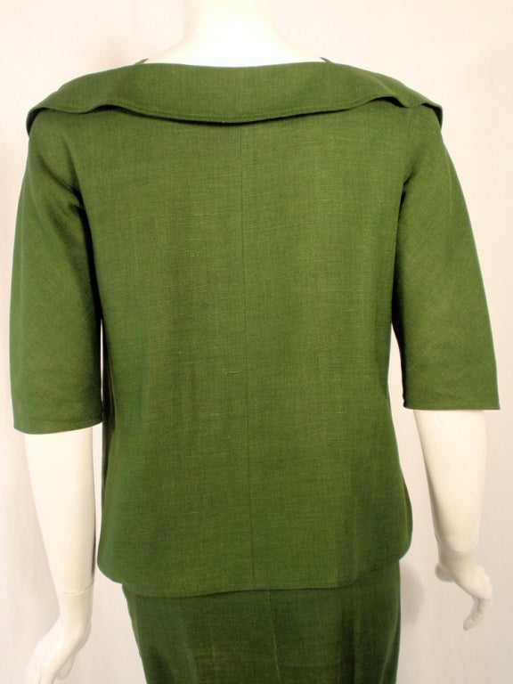 Rudi Gernreich Vintage Green 2 Pc. Skirt Suit w/ 2 Belts 8