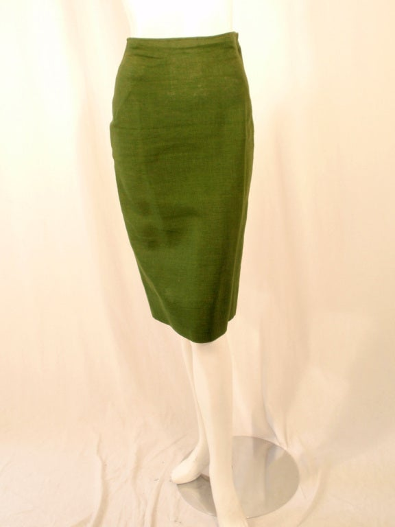 Rudi Gernreich Vintage Green 2 Pc. Skirt Suit w/ 2 Belts 9