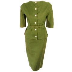 Rudi Gernreich Vintage Green 2 Pc. Skirt Suit w/ 2 Belts