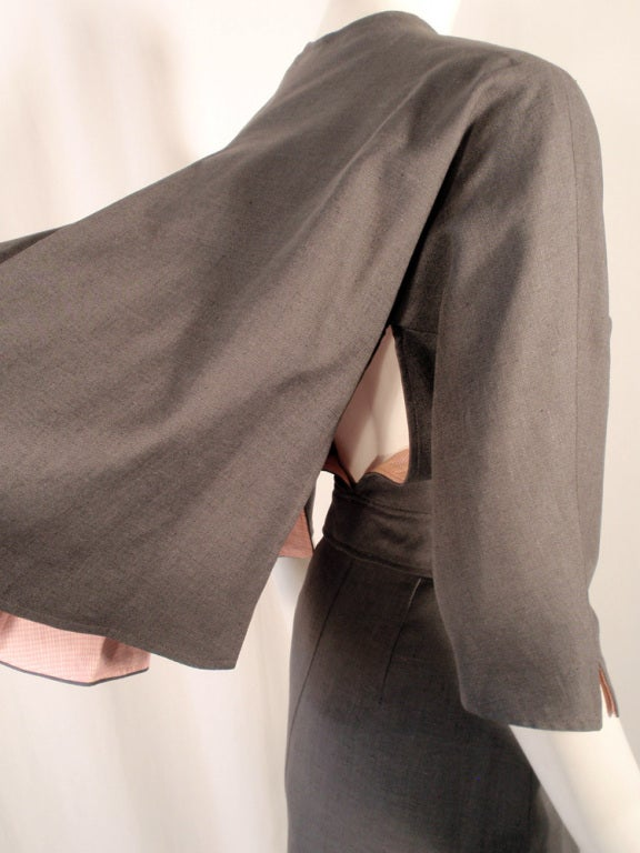Rudi Gernreich Vintage Gray Cape Jacket & Skirt Suit 8