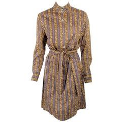 Rudi Gernreich Brown Floral Shirt Dress w/ Mirror Buttons
