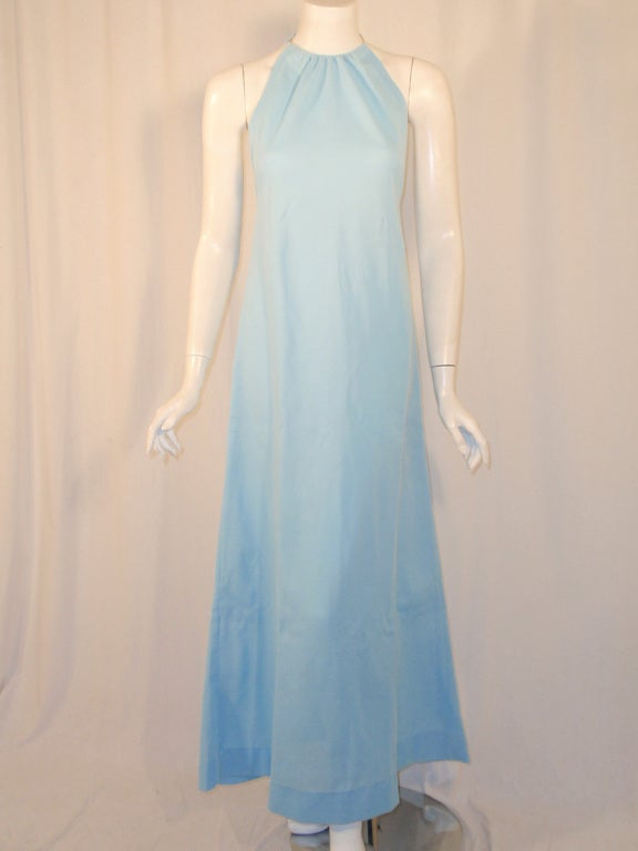 Rudi Gernreich Light Blue Knit Halter Dress w/ Metal Neck Ring 2