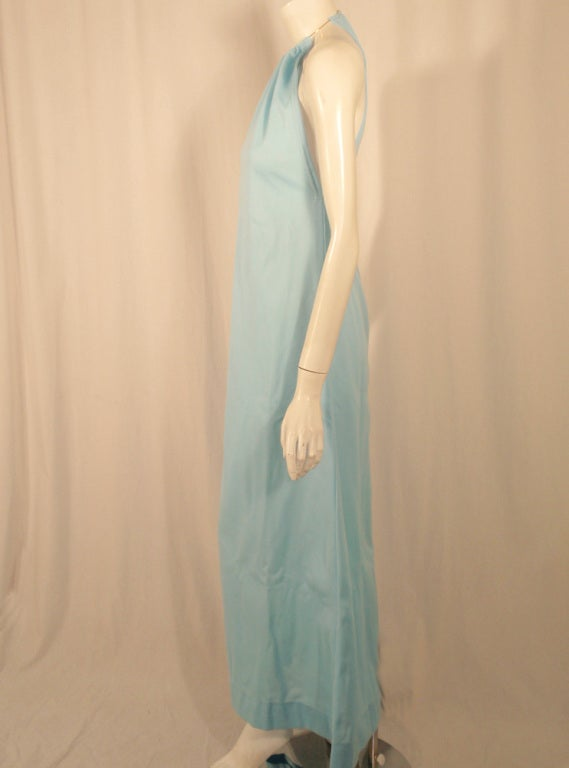 Rudi Gernreich Light Blue Knit Halter Dress w/ Metal Neck Ring 4