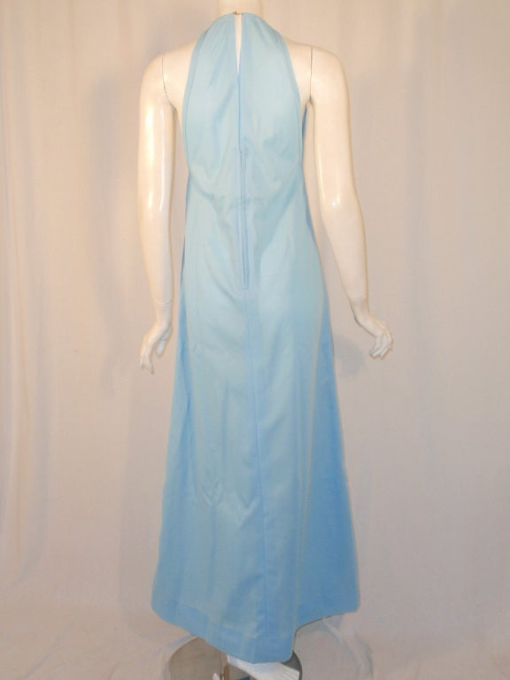 Rudi Gernreich Light Blue Knit Halter Dress w/ Metal Neck Ring 5